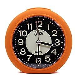 OSMOFUZE Mini Fluorescent Bedroom Alarm Clock, Silent Non Ticking Analog Small Lightweight Quartz Alarm Clock with Light, Battery Operated (Tangerine, Round)