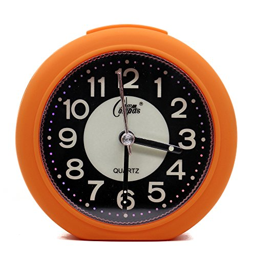 OSMOFUZE Mini Fluorescent Bedroom Alarm Clock, Silent Non Ticking Analog Small Lightweight Quartz Alarm Clock with Light, Battery Operated (Tangerine, Round)