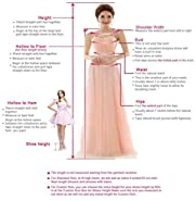 Huifany Women's Gold Lace Mermaid Sheer Back Formal Long Evening Prom Dresses