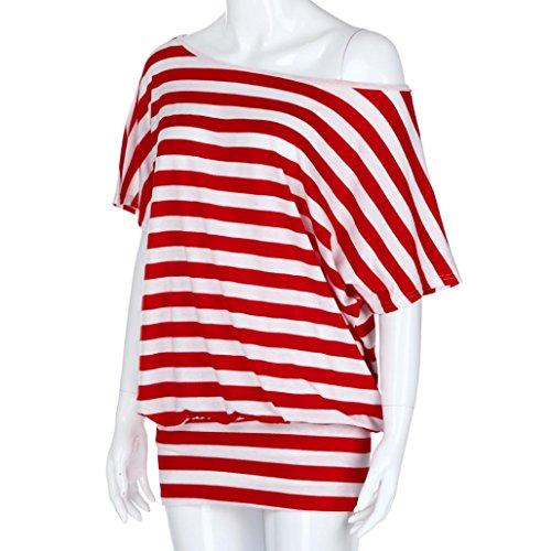 Donna Estate Camicetta Sciolto Maniche Shirt Italily A Tumblr Corte Top Collo Divertenti Superiore Vintage Slash Manica Corta Maglietta Rosso Magliette Strisce Casuale dS4wtwxnqz