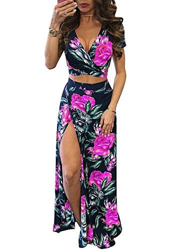 Gobought Womens 2 Piece Outfits Summer Floral Beach Crop and Side Slit Skirt (Medium, Rose (Women Two Piece)