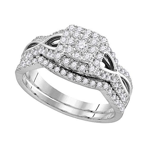 14kt White Gold Womens Round Diamond Split-shank Halo - Split Shank Wedding Band