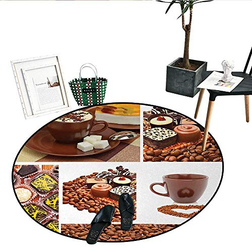 - Kitchen Print Area Rug Collection of Chocolate Sweets Muffins Coffee Beans and Mugs Cappuccino Pastries Living Dinning Room and Bedroom Rugs (43