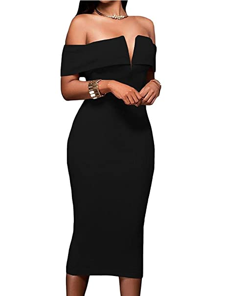 410b92029ae6 Women Sexy Split V Neck Off The Shoulder Evening Bodycon Club Midi Dress  Black