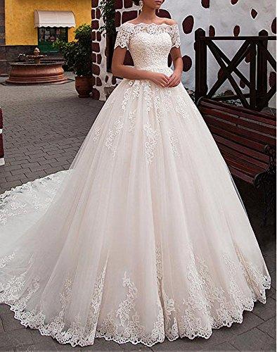 Dressylady Tulle Magnifique Au Large De La Robe De Bal Épaule Robe De Mariée Avec Blanc Appliqué