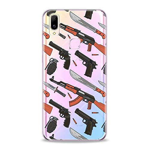 Lex Altern TPU Case for Vivo V15 Pro V11 V9 V7 V5 V3 X23 X21 X9 Nex Weapons Slim Fit Guns Flexible Male Smooth Handgun Gift Design Machine Gun Cover Lightweight Boy Print Weaponary Clear Soft Man