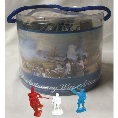 Revolutionary War Toy Soldier Tub 33 Piece Set with George Washington, Lafayette, British, Hessian and Continental Infantry, Cannon, (Toy Soldiers Infantry Set)