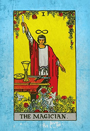 Tarot Print The Magician Retro Illustration Art Rider Print Vintage Giclee on Cotton Canvas or Paper Canvas Poster Wall Decor