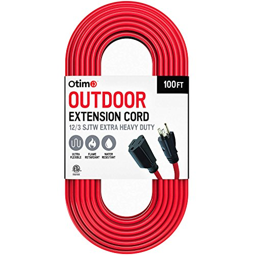 Otimo 100 ft 12/3 Outdoor Extra Heavy Duty Extension Cord - Professional Series - 3 Prong Extension Cord, Red by Otimo (Image #2)