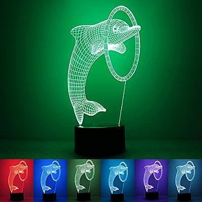 3D USB LED Night Light, 7 couleurs changeantes 3D Dolphin Shape nuit lumière table bureau table cadeau décoratif