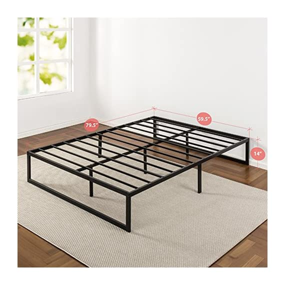 Zinus Abel 14 Inch Metal Platform Bed Frame / Mattress Foundation / No Box Spring Needed / Steel Slat Support / Easy Quick Lock Assembly, Queen - 14 inches with 13 inches of clearance under the frame for valuable under bed storage space Compact design allows for tight spaces such as staircases and doorways Reliable & extra durable steel slat mattress foundation - bedroom-furniture, bedroom, bed-frames - 51ySbV5KIQL. SS570  -