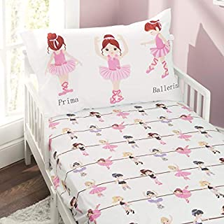 EVERYDAY KIDS Toddler Fitted Sheet and Pillowcase Set -Born to Dance Ballerina- Soft Microfiber, Breathable and Hypoallergenic Toddler Sheet Set