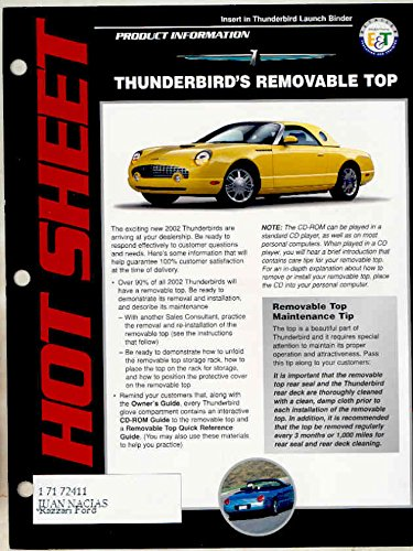 2002 Ford Thunderbird Salesman's Launch Brochure (Thunderbird Brochure)