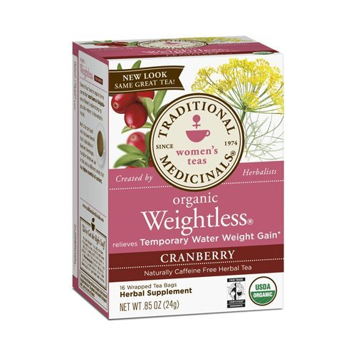 2 Packs of Traditional Medicinals Organic Weightless Cranberry Herbal Tea - Caffeine Free - 16 Bags (Best Herbal Tea For Water Retention)