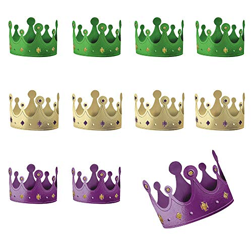 Amscan 250146 Mardi Gras Crowns, 12 Pieces, Multicolor
