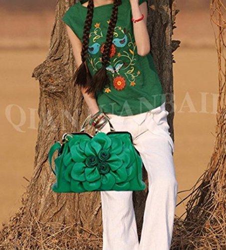 A Donna Da Forma Pinchu Decorazione Green Fiore Di red Con Floreale Borsa UBqEwEY