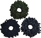 Ababalaya Women's 3pcs Volumising Scrunchie Big Hair Tie Ring Hijab Volumizer Khaleeji Headwear,Black+Army Green+Gray