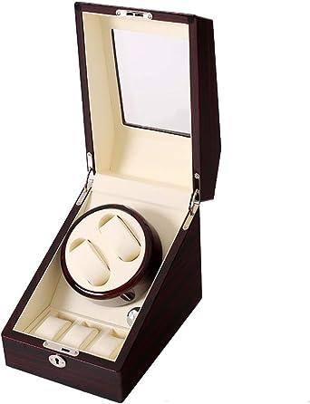Doble Cajas giratorias para Relojes automáticos, diseño antimagnético de la Vitrina Almacenamiento del Reloj Automatic Watch Winder Caja de Almacenamiento giratoria para 2 Reloj: Amazon.es: Relojes