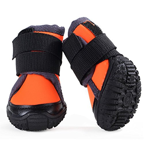 Hdwk&Hped Dog Hiking Shoes Outdoor Boots for Medium Dog, Waterproof Flexible Lycra Vamp Tough Anti-slip Sole Long Adustable Velcro Strap for All Seasons, Orange, 70, 4pcs by Hdwk&Hped