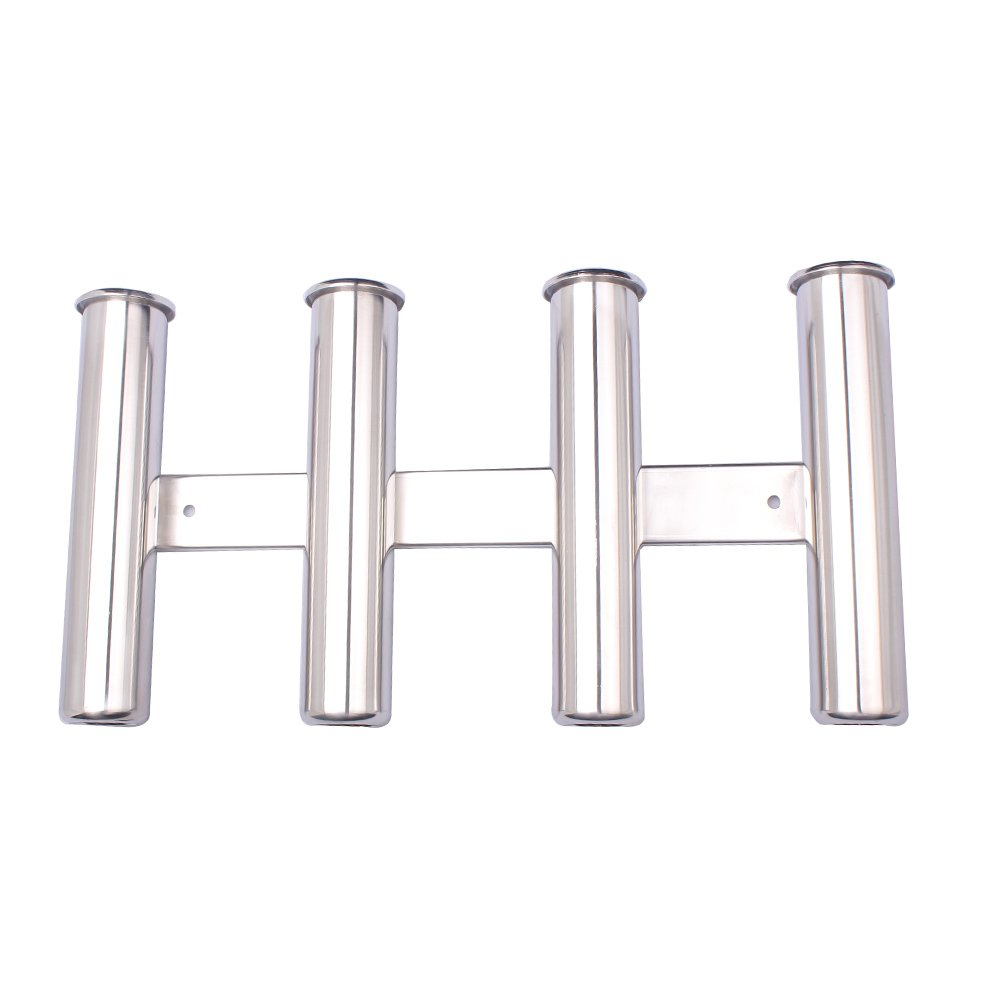 Hoffen Wall-Mounted 316 Stainless Steel Rod Holder 4 Tube Fishing Pod Rack for Marine Boat Yacht Camper RV