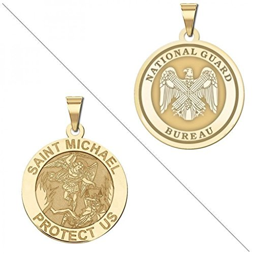 PicturesOnGold.com Saint Michael Doubledside National Guard Religious Medal 2/3 Inch Solid 14K Yellow Gold
