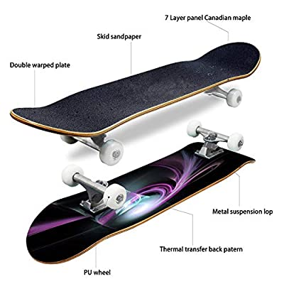 EFTOWEL Skateboards Digital Fractal on Black Wave Seamless Stock Pictures Royalty Free Classic Concave Skateboard Cool Stuff Teen Gifts Longboard Extreme Sports for Beginners and Professionals : Sports & Outdoors