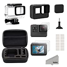 Kupton Accessories Kit for GoPro Hero (2018) / 6 / 5 Black Travel Case Small + Housing Case + Screen Protector + Lens Cover + Silicone Protective Case for Go Pro Hero6 Hero5 Outdoor Sport Kit