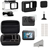 Kupton Accessories for GoPro Hero (2018) / 6 / 5 Black Starter Kit Travel Case Small + Housing Case + Screen Protector + Lens Cover + Silicone Protective Case for Go Pro Hero6 Hero5 Outdoor Sport Kit