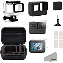 Kupton Accessories for GoPro Hero 6 / 5 Black Starter Kit Travel Case Small + Housing Case + Screen Protector + Lens Cover + Silicone Protective Case for Go Pro Hero6 Hero5 Outdoor Sport Kit