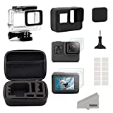 Kupton Accessories for GoPro Hero (2018) 6 5 Black Starter Kit Travel Case Small + Housing Case + Screen Protector + Lens Cover + Silicone Protective Case for Go Pro Hero6 Hero5 Outdoor Sport Kit