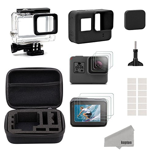 Black Silicon Case Screen - Kupton Accessories for GoPro Hero 7/6/ 5/ Hero (2018) Starter Kit Travel Case + Housing Case + Screen Protector + Lens Cover + Silicone Cover for Go Pro Hero7 Hero6 Hero5 Outdoor Sport Kit