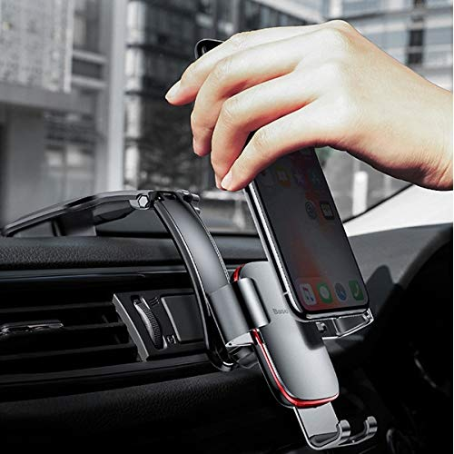 Mount+Stylus, Fits Universal ALCATEL KYOCERA Nokia Sony etc. Cell Phone Metal Age Gravity Car Mount-Red. ABS+ Aluminum Alloy Comb,Durable,Waterproof,Corrosion Resistant;Gravity Traction to Lock;Rotate -
