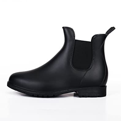 5f5847034ab Women Wellington Patent Elastic Ankle Welly Rain Boots Jelly Chelsea Booties  Black 36-4.5 UK  Amazon.co.uk  Shoes   Bags
