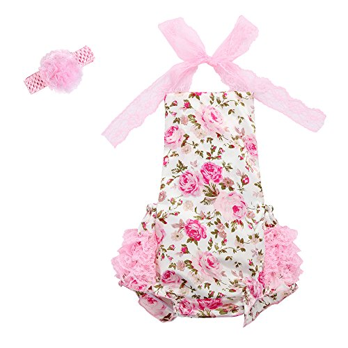 Toddler Ref Costume (Baby Girl's Floral Print 1st/2nd Birthday Cake Smash Ruffles Romper Jumpsuit Bodysuit Summer Outfits Clothes with Headband)