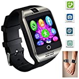 Smart Watch Touch Screen All-in-1 Bluetooth Smartwatch WristWatch and Unlocked Watch Cell Phone with Camera Supports SIM Card Slot for Women Men Boys Android Smartphones (Silver)