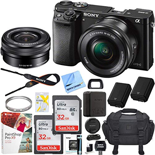 (Sony Alpha a6000 Mirrorless Digital Camera 24.3MP SLR (Black) w/ 16-50mm Lens ILCE-6000L/B with Extra Battery Case 2X 32GB Memory Deluxe Pro Bundle)