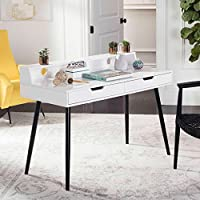 Safavieh FOX2226A Home Collection Cairo Mid Century Retro Two Drawer Writing Desk, White/Black