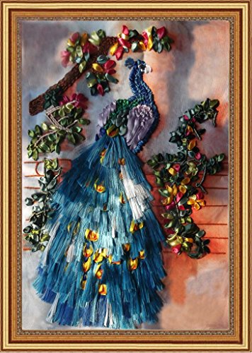 Aureate Handmade Silk Ribbon Embroidery Kits Canvas 3D Wall Art Home Decoration DIY Needlepoint Tapestry Hanging Gift Peacock 20×26