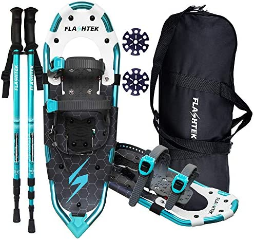 FLASHTEK 25 30 Inches Lightweight Snowshoes for Men Women Youth, Aluminum Terrain Snow Shoes for Hiking and Heel Lift Riser for Mountaineering with Trekking Poles and Carrying Tote Bag