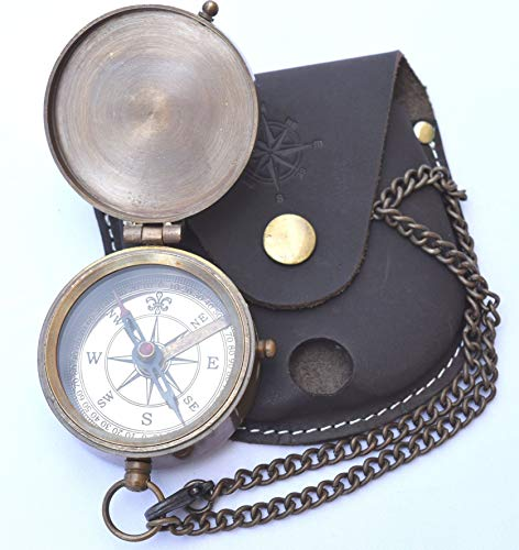Brass Compass - NEOVIVID Engravable Compass, Pocket Compass, Brass Compass with Leather Carry Case, Boy Scouts Compass, Eagle Scout Compass, Pirates Compass, Gift Compass, Camping Compass