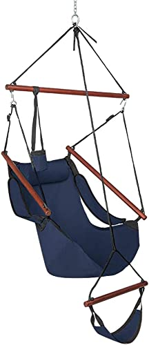 ONCLOUD Upgraded Unique Hammock Sky Chair, Air Deluxe Hanging Swing Seat with Rope Through The Bars Safer Relax with Drink Holder Fuller Pillow Solid Wood Indoor Outdoor Patio Yard 250LBS Blue