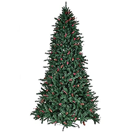 7ft artificial christmas tree with pine cones red berries 1918 pcs pvc tips pre attached - 7ft Artificial Christmas Tree