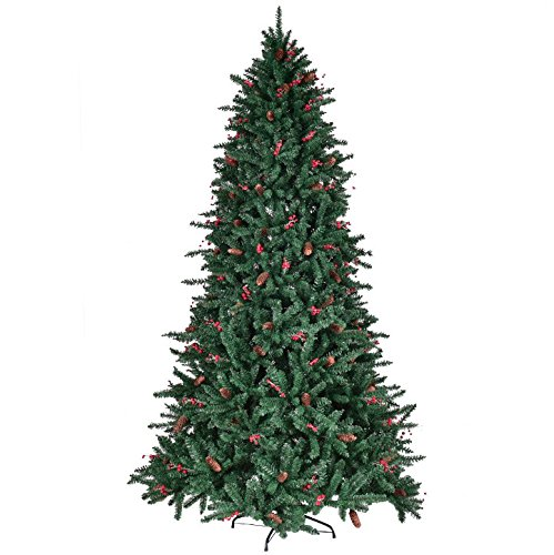 7FT Artificial Christmas Tree With Pine Cones Red Berries 1918 PCS PVC Tips Pre-Attached Hinged Branches For Easy Set Up Foldable Metal Tree Stand Indoor Outdoor Holiday Season Eco-Friendly Material by HPW