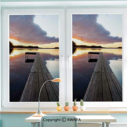 (RWNFA Non-Adhesive Privacy Window Film Door Sticker View of Sunset Over an Old Oak Deck Pier and Calm Water of The Lake Horizon Serenity Glass Film 22.8 in by 35.4in(58cm)