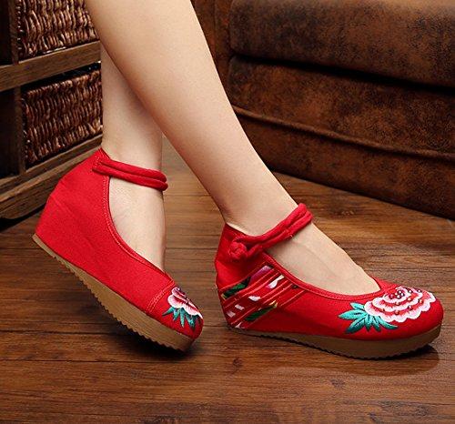 correa Plataforma bordado Mujeres vidrio de Rojo con Zapatos tobillo Pumps chino yuelian wedges RqwpUx