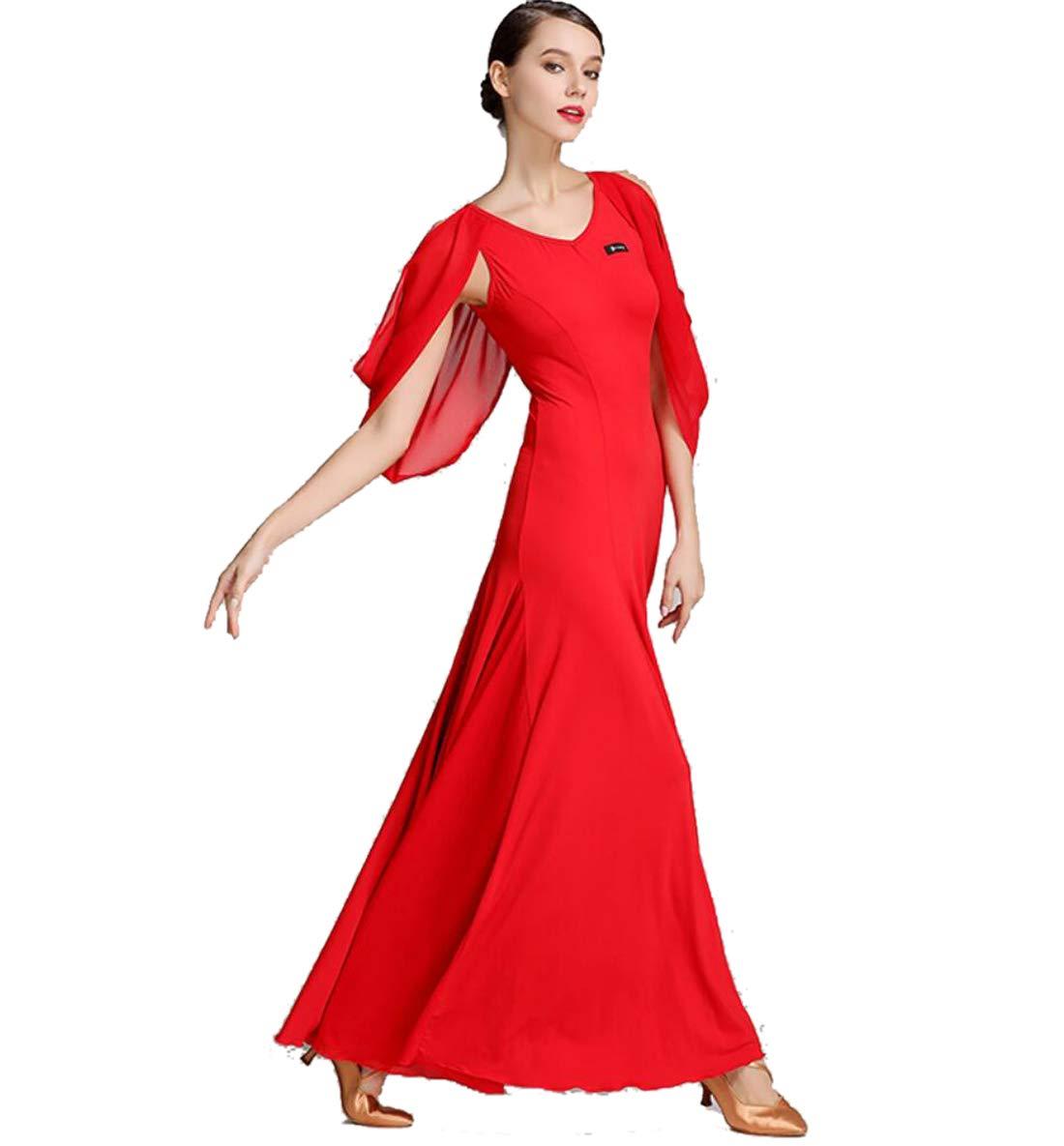 rouge XL SMACO Robe de Danse Moderne pour Femmes Costume de Danse Nationale Standard