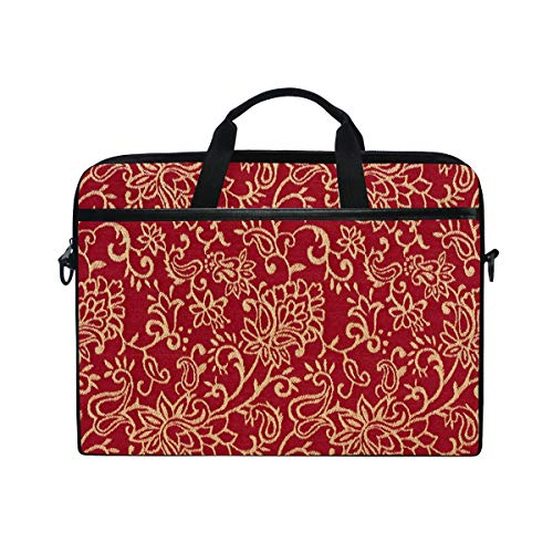 (Crimson Burgundy And Gold Intricate Floral 14 15inch Laptop Case Laptop Shoulder Bag Notebook Sleeve Handbag Computer Tablet Briefcase Carrying Case Cover With Shoulder Strap Handle Travel/Business/Sc)