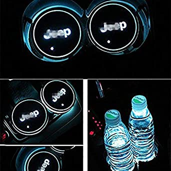 Dark rose 2pcs LED Car Cup Holder Lights -N-i-s-s-a-n- LED Interior Atmosphere Lamp for All car Logo 7 Colors Changing USB Charging Mat Luminescent Cup Pad