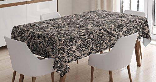 Ambesonne Gothic Tablecloth, Abstract Graphic Lace Pattern with Flowers Butterflies Old Fashioned Nature Inspired, Rectangular Table Cover for Dining Room Kitchen Decor, 60