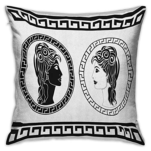 Toga Party Square Travel Pillowcase Roman Aristocrat Woman Profiles Circular Classical Frames Hairstyle Beauty Black White Cushion Cases Pillowcases for Sofa Bedroom Car W17.7 x L17.7